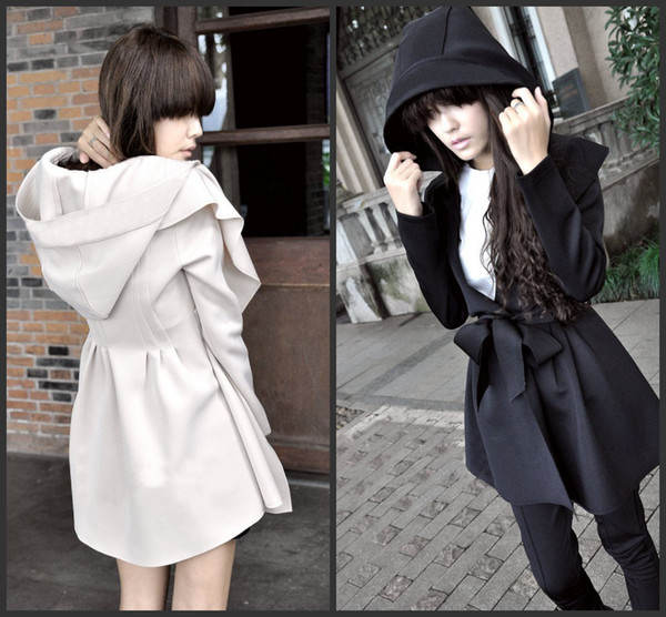 e4ed59423aa 2014 New Autumn Winter Stylish Korea Women's Hooded Long Coat Dresses Style  Outerwear Tops Black,