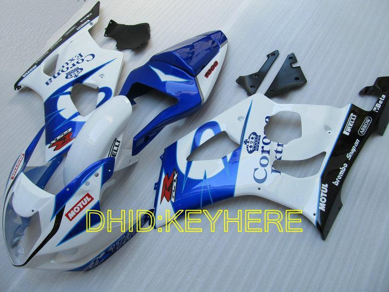 Xmas white/blue corona Fairings for SUZUKI 03 04 GSXR1000 GSX-R1000 2004 2003 motorcycle bodywork