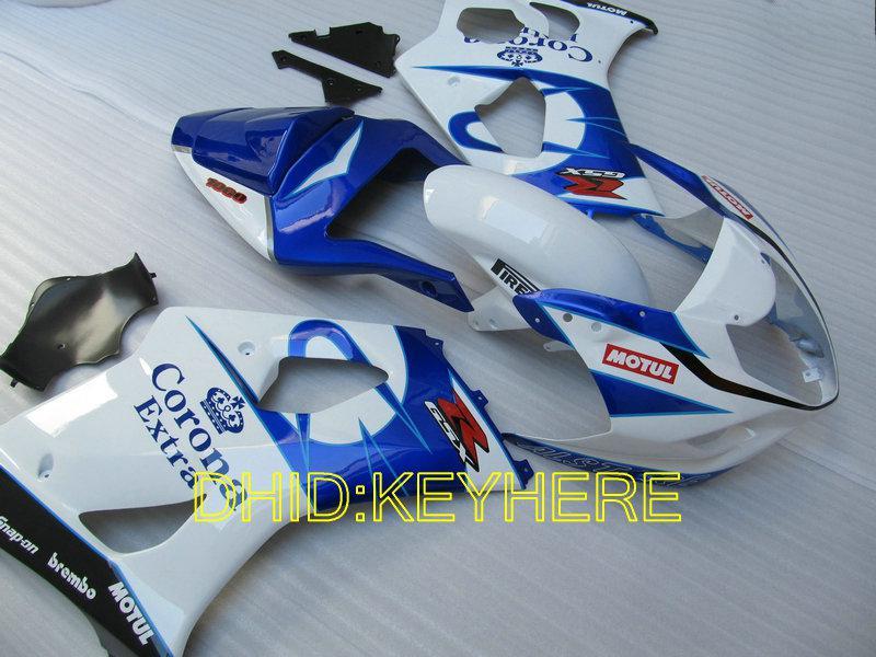 Corona de Navidad blanca / azul Carenados para SUZUKI 03 04 GSXR1000 GSX-R1000 2004 2003 carrocería de moto