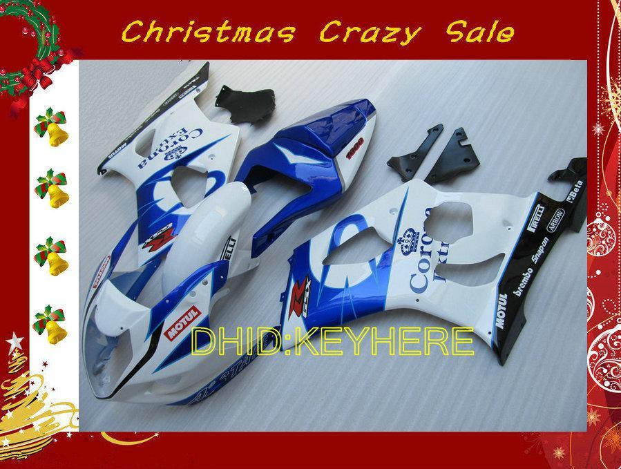 Xmas 화이트 / 블루 코로나 SUZUKI 03 04 GSXR1000 GSX-R1000 2004 2003 오토바이 차체용 페어링
