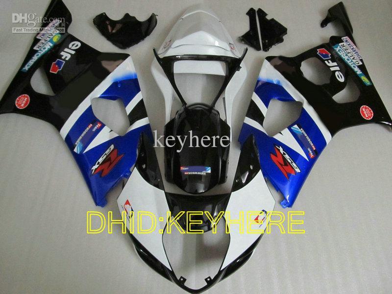 Vendas Azul / branco / preto Carenagens de Moto para SUZUKI 03 04 GSXR1000 GSX-R1000 2004 2003 carroçaria de motocicleta