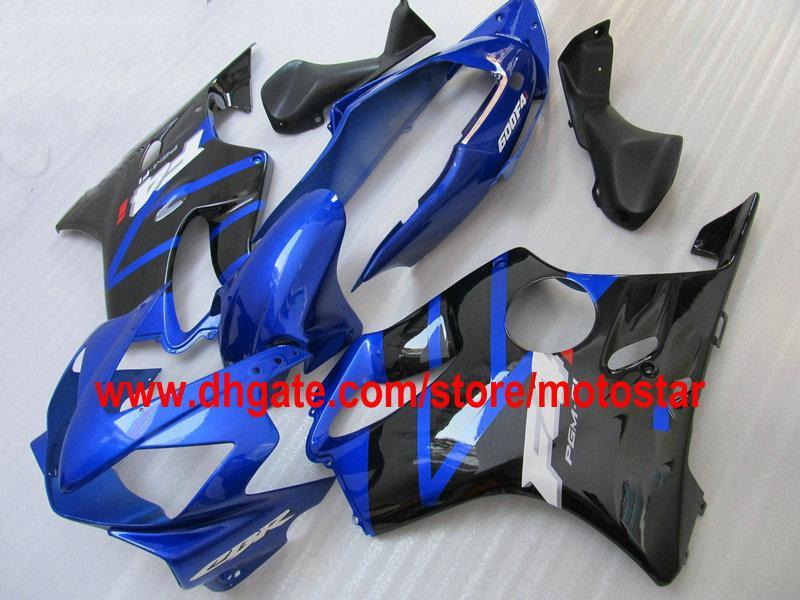 Gratis Anpassa Fairings för Honda Fairing Kit CBR600F4I CBR600 F4I 04 05 06 07 CBR 600 2004-2007 Blå svart ABS-karosseri