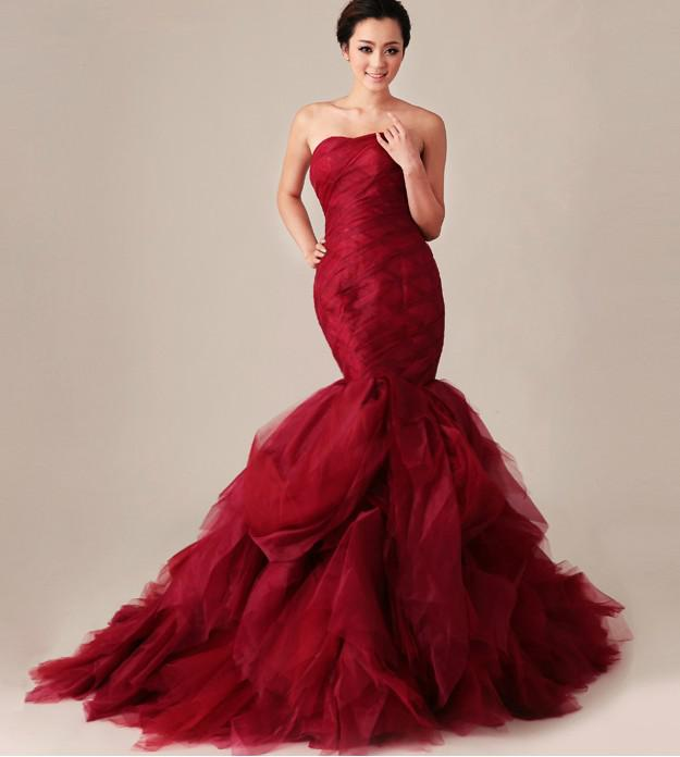 Strapless Ruffled Red Mermaid Wedding Dresses 2013 New Pageant Formal Prom Evening Bridal Gowns long