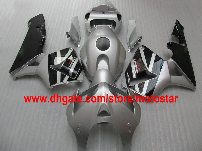 Silver Black ABS-formsprutad Full Set Fairing Kit för CBR600RR F5 2005 2006 CBR 600 RR 05 06