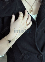 Wholesale Double Finger Chain Rings - Free Shipping 10 Pcs lot Wrist Bracelet Bangle Chain Link Double Finger Ring Gold Tone [F272*10]