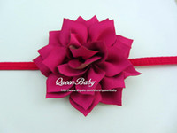 Wholesale two tone flower wholesale - Trial order Two-Tone Fabric Flowers Headband Elastic Hairband Newborn Nylon Photography Props Infant Accessories 30PCS LOT QueenBaby