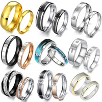 Wholesale Order Finger Ring - OPK JEWELRY MIXED ORDER stainless steel fasinon FINGER RING COUPLES diamond titanium rings 10pcs lot