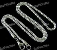 kette mm anhänger großhandel-2017 heißer verkauf 120 teile / los Str 2,4 MM Silber Überzogene Mais Halskette Halsketten Anhänger Ketten