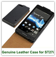 Wholesale St27i Flip Case - Genuine Black Leather Flip Cover Case for Sony Xperia GO ST27i With Magnic Enclosure 1 10 25