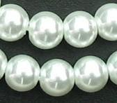 Wholesale Wholesale 6mm Pearl Beads - 280 6mm Round Glass Pearl Jewelry Beads White (0023)