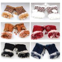Wholesale Dark Purple Gloves - Beautiful Rabbit Fur Gloves Lady's Winter Fingerless Mixed color Half-fingers Glove 12pcs lot