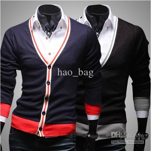 Fashion More Color Men's Cardigan Sweater Fleece Wool Sweater ...