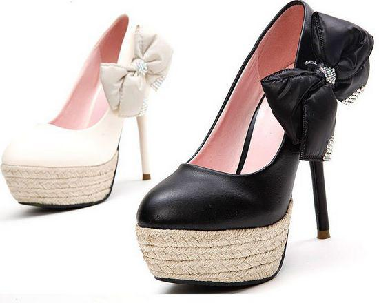 2016 Popular Pumps Black or White Fashion Lady's Elegant Summer Altro High Heel Pumps with Bow Women Shoes Platform Shoes