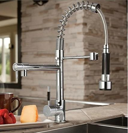Superbe Pull Out And Swivel Mixer Faucet Which Can Be Used For 2 Sinks