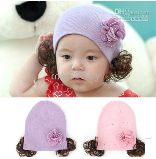 Nice Kids  Cap Winter Warm Hat Baby Girl Cute Wig Cap Girl Winter Hats New  Hair Accessories Infant Hair Accessories Boutique Pretty Hair Accessories  From ... 889e97a86a9