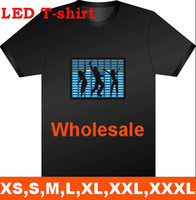 Wholesale El Sound Shirt - LED Light EL T-Shirt Fashion Sound Activated Light up and down New style free shipping