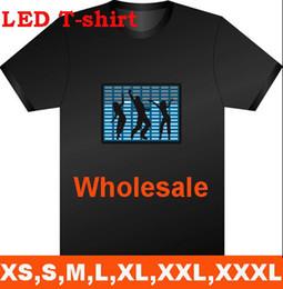 Wholesale Sound Activated Novelties - LED Light EL T-Shirt Fashion Sound Activated Light up and down New style free shipping