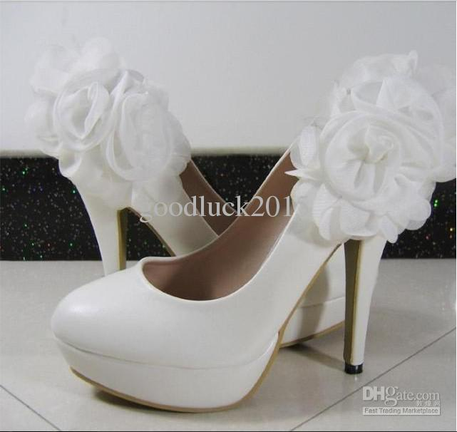 2013 New Bridal White Wedding Shoes Women Waterproof Flowers High