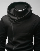 assassins credo mens jaqueta venda por atacado-Qltrade_3 Hot vendas Mens zip slim projetado Hoodie Jacket Assassins Creed Top Coat preto