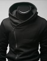 chaqueta de asesino credo negro al por mayor-Qltrade_3 ventas calientes para hombre zip delgado diseñado Hoodie Jacket Assassins Creed negro Top Coat
