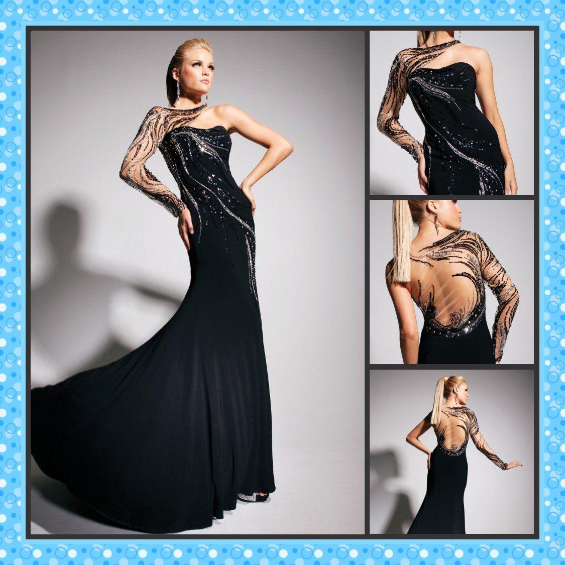 Sunvary Hot Sale Long Sleeve Prom Dress Trumpet One Shoulder Black ...