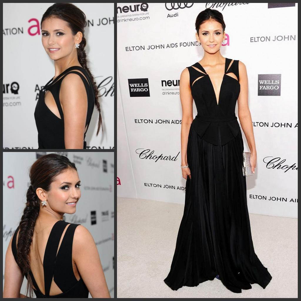Nina Dobrev Black Deep V Neck Chiffon 2015 Oscar Red Carpet Dresses ...