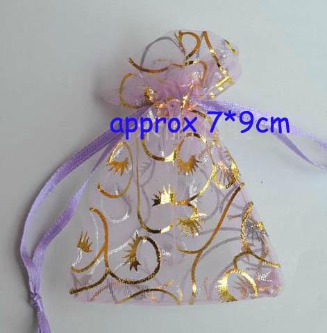 FreeShip 500 Pièces MIXTES Étoiles Coeurs Lunes 7 * 9cm Sacs En Organza Voile Bijoux Sacs Cadeau Sacs De Sucrerie