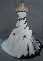 Wholesale Taffeta Strapless Chapel Train - Actual Images New Beautiful White and Black Embroidery Wedding Dresses Bride Dress