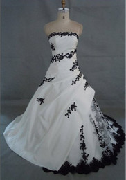 Wholesale Black Beautiful Models - Actual Images New Beautiful White and Black Embroidery Wedding Dresses Bride Dress