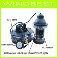 Wholesale Nightvision Underwater Camera - CCTV camera PTZ underwater camera 50M cable CCD 18PCS IR white LED lights nightvision waterproof rot