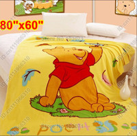 Wholesale Winnie Pooh Comforter Sets - Winnie the Pooh Cartoon Animal Baby Kids Toddler Infant Newborn Boys Girls Coral Fleece Mink Throw Blanket Bedding Set Cover Quilt Comforter
