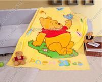 Wholesale Winnie Pooh Comforter Sets - Winnie the Pooh Cartoon Animal Baby Kid Toddler Infant Newborn Boy Girl Coral Fleece Mink Throw Blanket Bed Set Cover Quilt Comforter Sheet