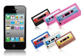 Wholesale Tape Cassette Back Cover - 100pcs lot Cassette tape,soft silicone case for iphone 4,Back protective cover