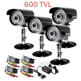 Vigilância à prova de intempéries on-line-4x CCTV Segurança Ao Ar Livre 600TVL Câmera CCTV À Prova de Intempéries Day Night Vision Kit Vigilância