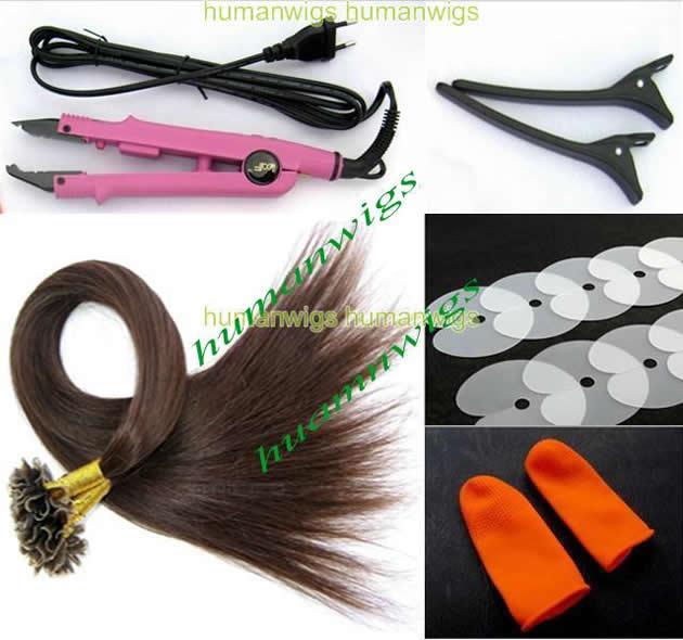 Kits de Fusion de Extensión de Pelo de Moda (pelo de punta de uñas 0.5g + protector de dedos + escudo + conector de pelo + clip)