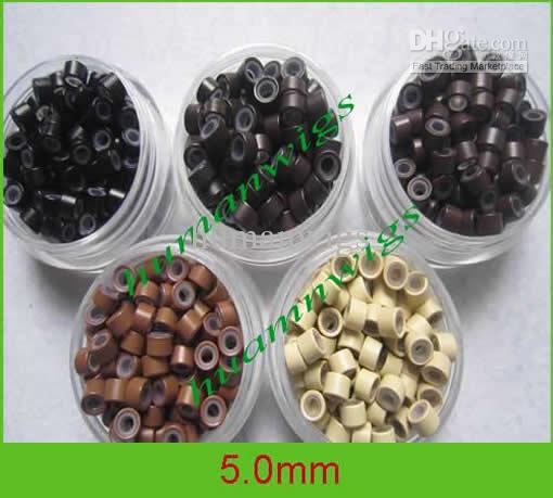 Anneaux micro de silicone de 5.0mm pour des prolongements de cheveux, des outils d'extension de cheveux.5 couleurs mélangées, /