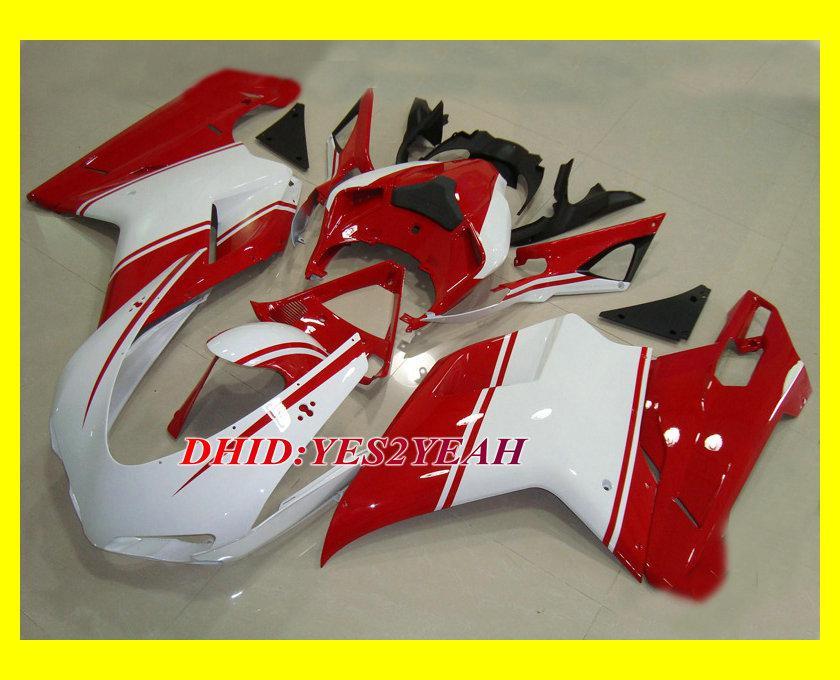 Ducati 1098 848 2007 2008 Ducati 1098 1198 848 07 08赤ホワイトフェアリングボディキット