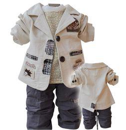 Wholesale Suits Coats T Shirt Pants - Free shipping Children's clothing suit Cotton coat+T-shirt+pants suit baby Boy kid three piece sets