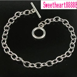 Wholesale Bracelets Dangling Chains - 20pcs lot Stainless Steel chain bracelet for dangles charms 20cm Jewelry Findings & Components Hot sell MIC