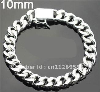10mm 8inch Free Shipping 925 Sterling Silver Bracelet Men S Curb Chain Silver Bracelet