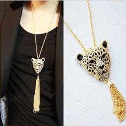 Wholesale Leopard Head Sweater - Fashion rhinsetone leopard head Tassel Necklace Long sweater chain Free shipping NE67139