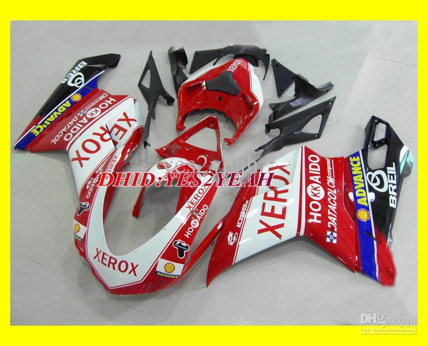 DUCATI 용 인젝션 페어링 바디 키트 1098 07 08 848 2007 2008 차체 제작소 Ducati 1098 1198 848 07 08 오토바이 페어링 세트 +7 개용