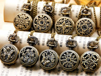Wholesale Vintage Ladies Pocket Watch - HOT Ladies Vintage Hollow Flower lady Pocket Watch 27*27 mm Necklace Unisex Ladies Men's Watches