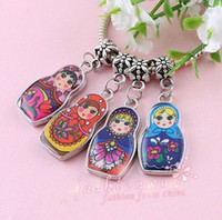 Wholesale Charms Doll Enamel - 50X Two-Sided Mix Color Enamel Matryoshk Russian Doll Beads(0045)