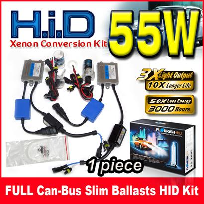 best selling 1 Set 55W Full Canbus Slim Ballasts HID Xenon Conversion Kit 12V Single Beam H1 H3 H4 H7 9004 9005 9006 9007 All Color For BMW Benz Audi VW