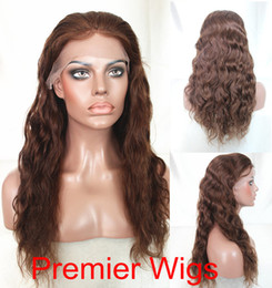 """Wholesale Half Lace Wig Cheap - Free Shipping 8""""-22"""" Natural Wave Black to Medium Brown #1-4# Indian Remy Human Hair Cheap Human Lace Front Wigs"""
