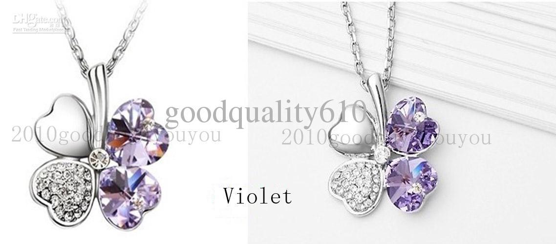 12 x Kristall-Kleeblatt-Halsketten-Anhänger geben Verschiffen-Mischung alle der Art 9 Farben frei, die Sie wählen können