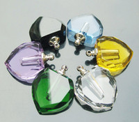Wholesale Big Hole Perfume Vials Flat Heart Perfume pendant Aroma necklace vials perfume bottle pendant