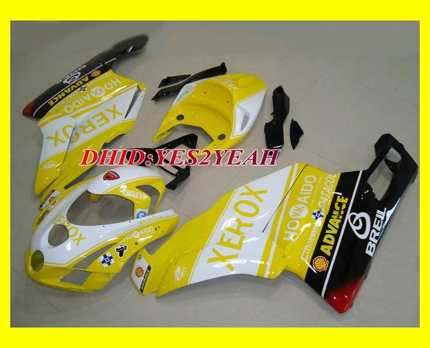 Injiceringsmöbler Fairing Body Kit för Ducati 749 999 03 04 Bodywork 749 999 2003 2004 Gula vita motorcykelfeedningar Set + 7Gifts