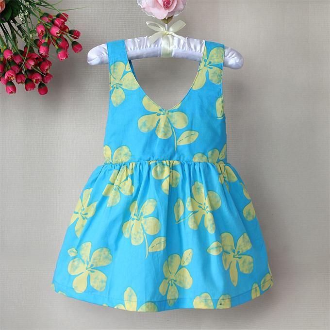 Online Cheap New Korean Fashion Baby Girls Summer Dresses Blue ...